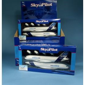 Maquette plastique - Airbus A380 kit -23cm 1/300- socle - sky Pilot New Ray ( box :12 pcs)