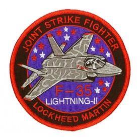 Geborduurde pleister - Joint Strike fighter F-35 Lightning II. Geborduurde pleistere 10cm