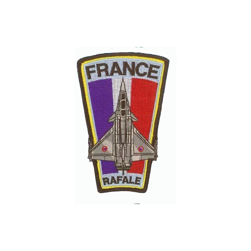 Rafale + drapeau français . Ecusson trapèze H12.5cm
