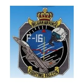 gestickte Patch - F-16 Fighting Falcon Belgian Air Force - Fleck 13x11cm