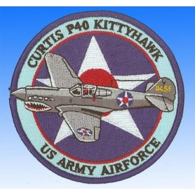 Embroidered patch - Curtis P40 Kittyhawk USAAF. Patche 10cm